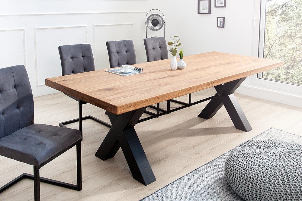 Robuuste Eiken Tafel : Robuuste eiken houten eettafel woody je online industriële