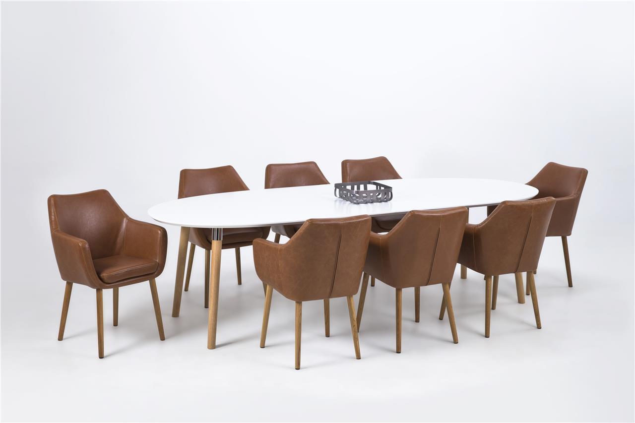 Ovale eettafel uitschuifbaar meubel deals nl for Eettafel stoelen cognac